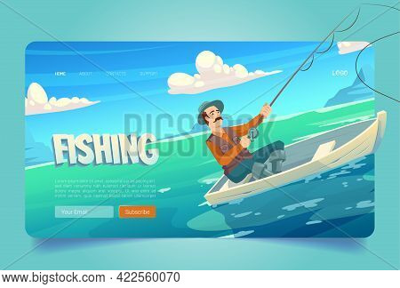 Fishing Website With Lake And Man In Boat. Fisherman With Rod Catches In River, Pond Or Sea. Vector