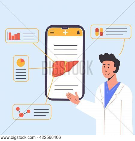 Concept Of Consulting Doctor Online On Mobile Phone. An App Explaining Liver Human Organ. Researcher