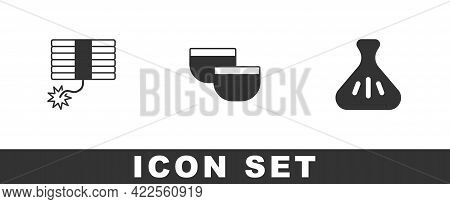 Set Firework, Chinese Tea Ceremony And Dumpling Icon. Vector