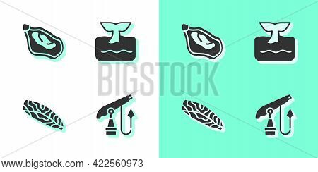 Set Fishing Harpoon, Mussel, Steak And Whale Tail Ocean Wave Icon. Vector