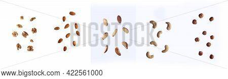 Healthy Food Concept - Nuts (brazil Nut, Cashew, Almond, Walnut, Hazel-nut) Pouring Against White Ba