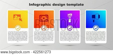 Set Photo Retouching, Camera, Action And Softbox Light. Business Infographic Template. Vector