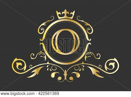 Golden Stylized Letter O Of The Latin Alphabet. Monogram Template With Ornament And Crown For Design