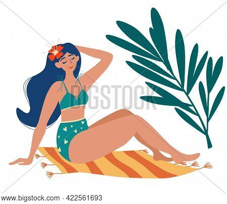 Beautiful Girl In A Swimsuit Sunbathing On The Mat. Palm Trees. Summer Tan, Rest. Woman Sunbathes In