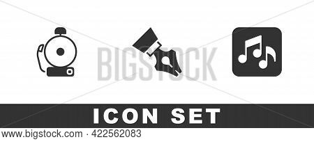 Set Ringing Alarm Bell, Fountain Pen Nib And Music Note, Tone Icon. Vector