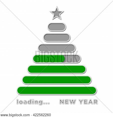Loading New Year Greeting Card - Lettering And Green Loading Bars Arranged In Tree Shape On White Ba