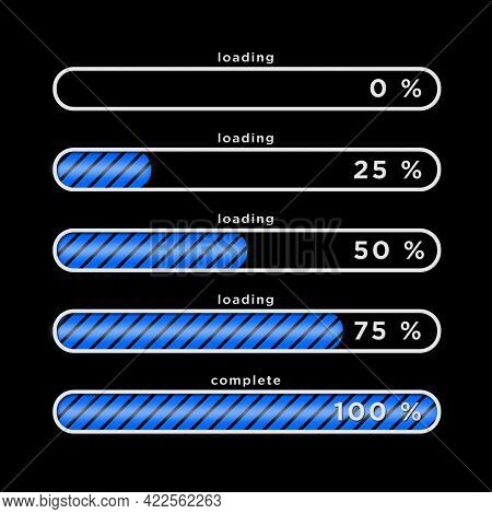 Loading Process Greeting Card - Blue Loading Bars With Different Progress Arranged In Block Shape On