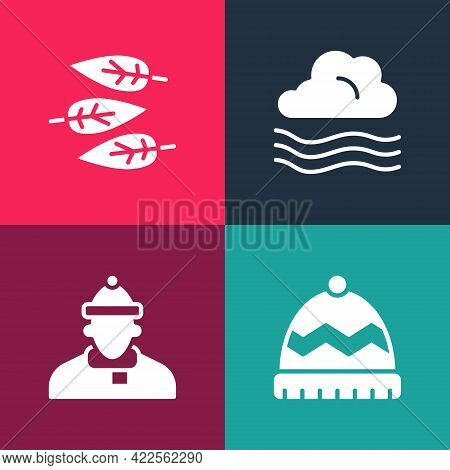 Set Pop Art Winter Hat, Autumn Clothes, Windy Weather And Leaf Or Leaves Icon. Vector
