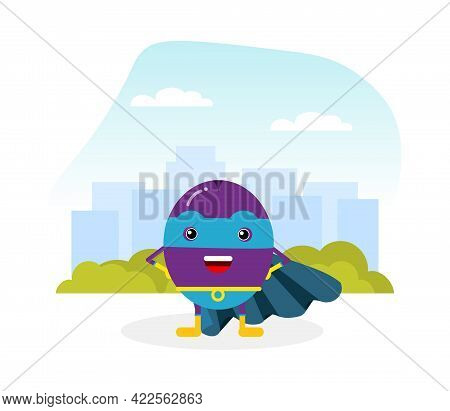 Funny Plum Fruit Hero In Mask And Cloak Standing Vector Illustration