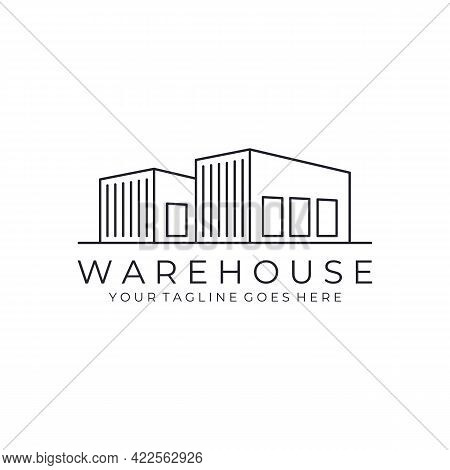 Warehouse Minimalist Line Art Outline Logo Vector Icon Illustration