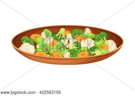 Steamed Vegetables With Cauliflower And Carrot As Indian Dish And Main Course Served On Plate And Ga