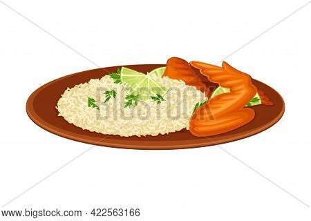 Steamed Rice With Tandoori Chicken As Indian Dish And Main Course Served On Plate And Garnished With