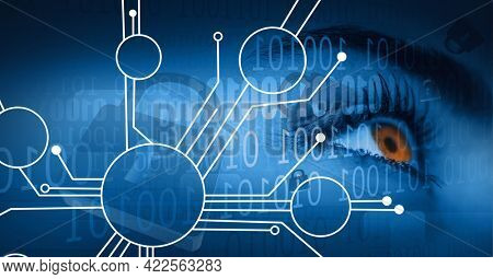 Composition of binary coding and network of connections, circuit board over woman's eye. global online security, connection, technology and digital interface concept digitally generated image.