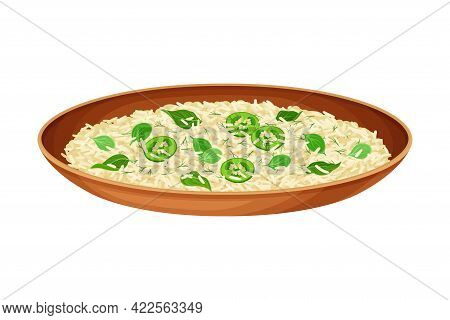 Steamed Rice With Herbs And Green Chiles As Indian Dish And Main Course Served On Plate Closeup Vect