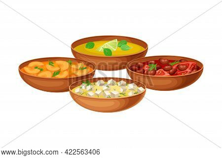 Mixed Snacks And Appetizers As Indian Dish Served In Bowls And Garnished With Herbs Closeup Vector I