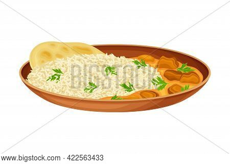 Rice With Meat Gravy And Flatbread As Indian Dish And Main Course Served On Plate And Garnished With