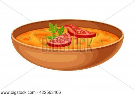 Thick Vegetable Soup With Tomato And Herbs As Indian Dish And Main Course Served In Bowl Closeup Vec