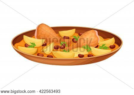 Chicken Legs With Potato And Gravy As Indian Dish And Main Course Served On Plate And Garnished With