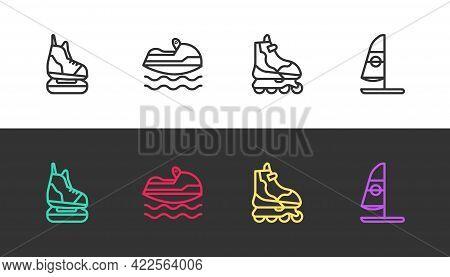 Set Line Skates, Jet Ski, Roller Skate And Windsurfing On Black And White. Vector