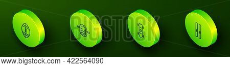 Set Isometric Line Rugby Ball, Rafting Boat, Longboard Or Skateboard And Ski And Sticks Icon. Vector