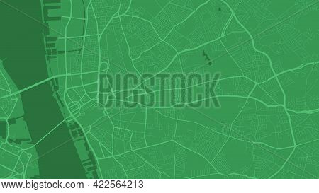 Green Liverpool City Area Vector Background Map, Streets And Water Cartography Illustration. Widescr