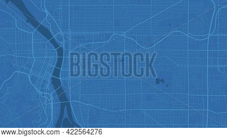 Blue Portland City Area Vector Background Map, Streets And Water Cartography Illustration. Widescree