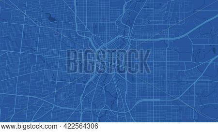 Blue San Antonio City Area Vector Background Map, Streets And Water Cartography Illustration. Widesc