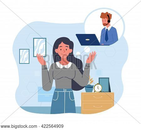 Male Hotline Operator Advises Female Client, Global Technical Phone Assistant Live Feedback Support