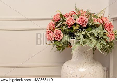 Bouquet Of Pink Roses In Floor Ceramic Vase In Classic Style. Shbby Chic Interior Decoration.