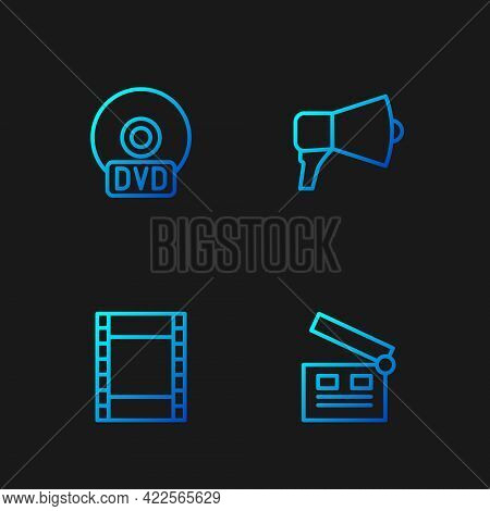 Set Line Movie Clapper, Play Video, Cd Or Dvd Disk And Megaphone. Gradient Color Icons. Vector