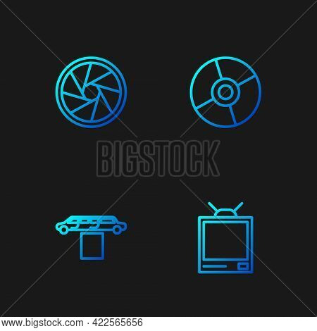 Set Line Retro Tv, Limousine Car And Carpet, Camera Shutter And Cd Or Dvd Disk. Gradient Color Icons