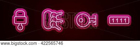 Set Line Lock And Key, Bunch Of Keys, Key And Password Protection. Glowing Neon Icon. Vector