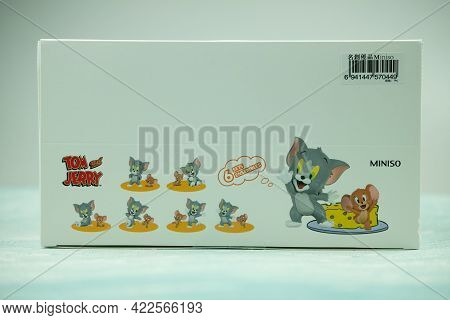 Samut Prakan, Thailand - June 3, 2020 : The New Figure Toy In Box, Collection Of Tom & Jerry I Love