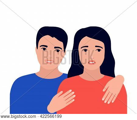 Discord, Problem, Crisis In Relationship Of Couple, Support. Psychological Family Problems Of Man An