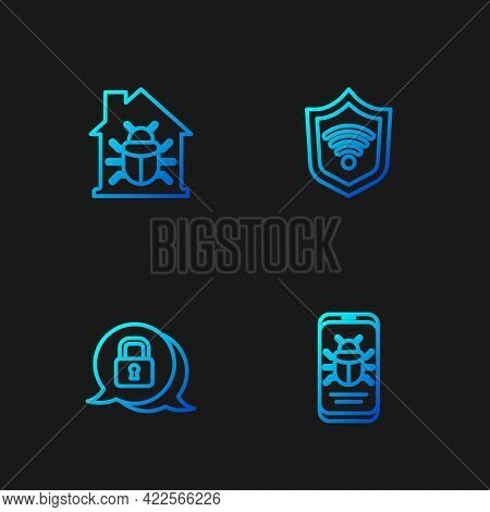Set Line System Bug On Mobile, Cyber Security, House System And Shield With Wifi Wireless. Gradient