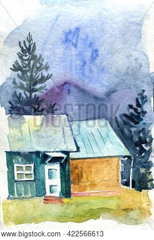 Original Watercolor Painting Of House In The Mountains. Mountain Landscape. Modern Impressionism