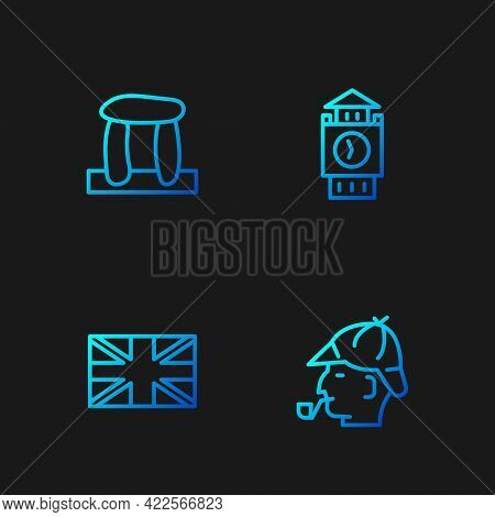 Set Line Sherlock Holmes, Flag Of Great Britain, Stonehenge And Big Ben Tower. Gradient Color Icons.
