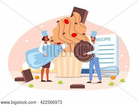 Smiling Confectioners Decorating Cake, Cooking, Making Dessert, Confection Or Pastry. Flat Abstract