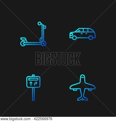 Set Line Plane, Road Traffic Signpost, Scooter And Hatchback Car. Gradient Color Icons. Vector