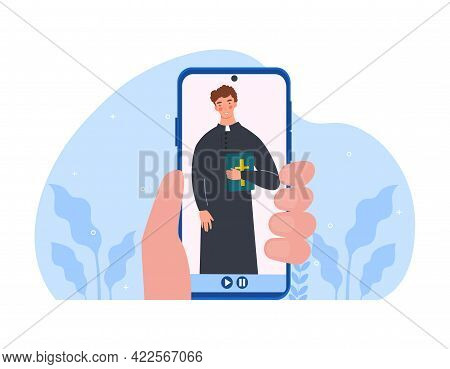 Digital Counseling And Mental Help. Online Church Service, Forgiveness Of Sins, Confession, Reading