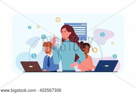 Female Boss Reward Staff For Successful Completion Of The Goal. Multiracial Dream Team Leads To Vict