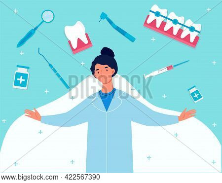 Dental Clinic Welcoming Web Banner Hero Images. Set Of Medic Items Collection On Background. Positiv