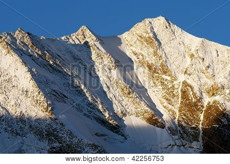 Morning view from Zillertaler Alpen on Hochfeiler or Gran Piastro gruppe - border of Austria and Ita