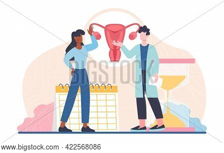 Female Patient Consulting Doctor About Reproductive Health. Menopause, Women Climacteric, Hormone Re
