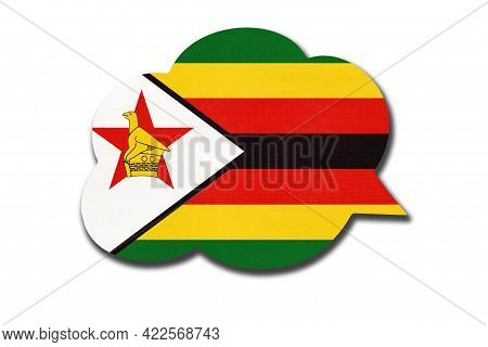 3d Speech Bubble With Zimbabwean National Flag Isolated On White Background. Speak And Learn Chewa L