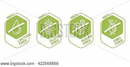 Lactose Free Flat Hexagonal Pictograms Set, Sugar Free, Gluten Free, Gmo Free. Pictograms For Food P