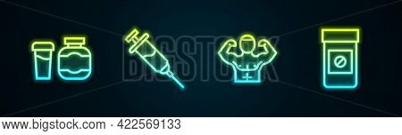 Set Line Sports Nutrition, Doping Syringe, Bodybuilder Muscle And Anabolic Drugs. Glowing Neon Icon.