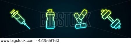Set Line Doping Syringe, Fitness Shaker, Vitamin Pill And Dumbbell. Glowing Neon Icon. Vector