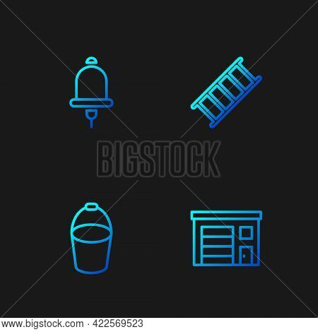 Set Line Building Of Fire Station, Fire Bucket, Ringing Alarm Bell And Escape. Gradient Color Icons.