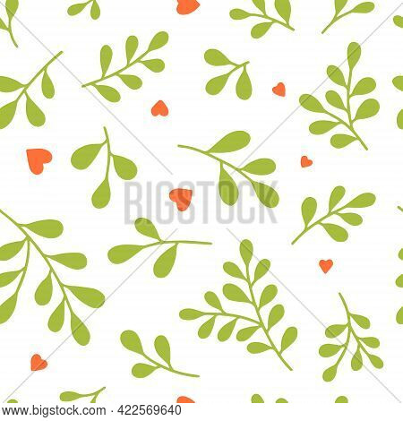 Seamless Pattern  Of Leaves (ruta Graveolens) Twigs And Red Hearts. Hand Drawn Doodle Fabric, Gift W